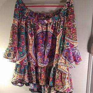 Joan Vass Boho Style Women's Multicolored Top